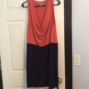 Coral and purple scoop neck dress